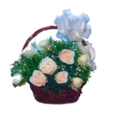 24-white-roses-basket-kochi