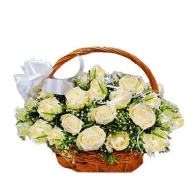50-white-roses-basket-kochi