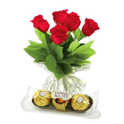 5-red-roses-bouquet-ferrero-rocher-5-pieces